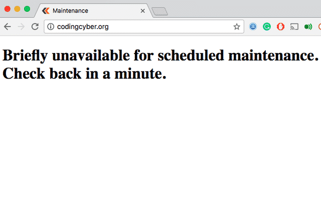 unavailable for scheduled maintenance error