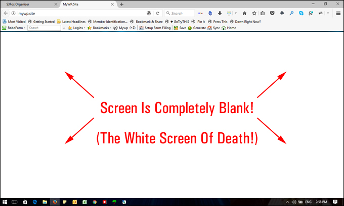 white screen of death error