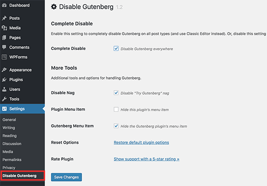 Disabling the Gutenberg Editor